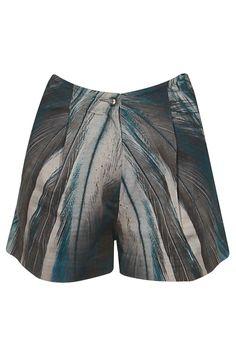 Teal, chocolate brown, grey feather print high-waist shorts by Ashish N Soni. Shop now: http://www.perniaspopupshop.com/designers/ashish-soni #shorts #ashishnsoni #shopnow #perniaspopupshop