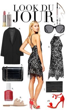 Look of the day: black lace dress+red ankle strap heeled sandals or nude flat ones+black clutch or shoulder bag+black  long Oversized-Blazer. Summer night outfit 2016