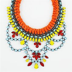 Braided Chain Necklace - multi layer statement necklace in orange & blue