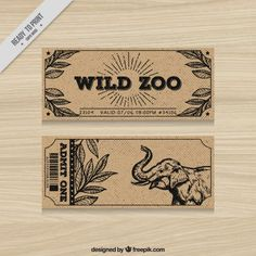 Vintage zoo tickets with hand drawn elephant and leaves Premium Vector Zoo Drawing, Zoo Tickets, Zoo Birthday, Admit One, One Design, Save The Date, Vector Free, How To Draw Hands, Elephant
