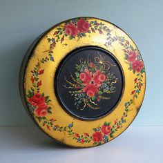Gold and Black Decorative Tin with Tole Style Roses by Atlantic Can Company