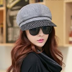 Fashion plaid newsboy cap for winter womens wool beret hat 868a95a09bf
