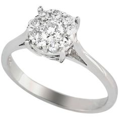 Preowned Diamond Cluster Or Engagement Ring .50 Carat Diamonds Set In 14 Carat White Gold featuring polyvore, men's fashion, men's jewelry, men's rings, bridal rings, white, mens white gold rings, mens solitaire diamond rings, native american mens rings, mens white gold diamond ring and mens diamond rings