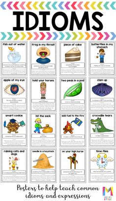 with Visuals Posters These bright and colorful idiom posters are a great tool to help you teach figurative language to your students.These bright and colorful idiom posters are a great tool to help you teach figurative language to your students. Learn English Grammar, English Writing Skills, English Phrases, English Language Learning, English Words, English Lessons, English Vocabulary, Teaching English, English Class