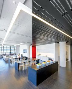 Circuit boards inspired the linear fluorescent fixtures bolted to the ceiling at Wired magazine's headquarters designed by Gensler. Photography by Jasper Sanidad. #architecture #interiors #interiordesign #design #office #wired #gensler @gensler_design... - Interior Design Ideas, Interior Decor and Designs, Home Design Inspiration, Room Design Ideas, Interior Decorating, Furniture And Accessories