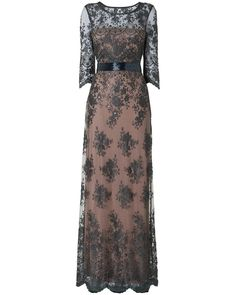Lace Beaded Evening Gown with Sleeves