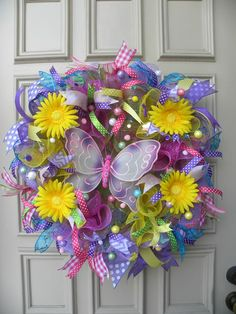 Whimsical Spring Easter Door Wreath - Mesh - Butterfly - Summer - Decoration #DesignedbyJanfromBerdiesBloomers
