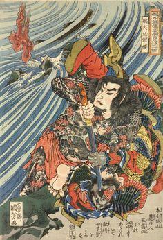 Senkaji Choo 船伙兒張橫 (Zhang Heng) / Tsuzoku Suikoden goketsu hyakuhachinin no hitori 通俗水滸傳濠傑百八人一個 (One of the 108 Heroes of the Popular Water Margin) by Utagawa Kuniyoshi