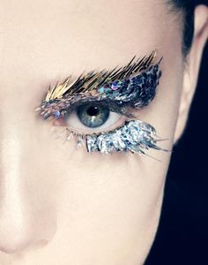 makeup beauty metallic gold eyebrows and silver lashes