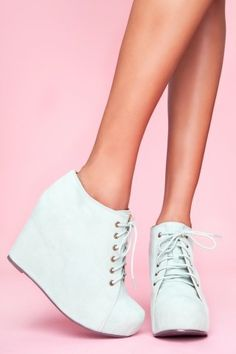 mint suede wedges!