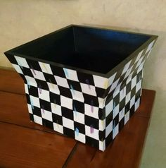 """Courtly Whimsical Checkerboard check 6.5"""" x8.5"""" planter or childs storage box"""