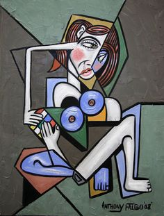 NUDE WOMAN WITH RUBIK'S CUBE ORIGINAL CUBIST PRINT LADY  ANTHONY FALBO #Abstract