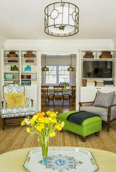 South Shore Decorating Blog: What I Love Wednesday: Beautiful, Cheery, Colorful Rooms - I like the mismatched chairs.