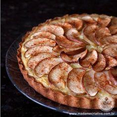 Receita torta de maçã com creme -  Dicas de como fazer - Passo a passo com fotos - Tutorial with pictures - apple pie with cream - DIY  - Madame Criativa - www.madamecriativa.com.br