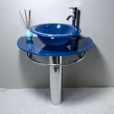 Kokols Blue Vessel Sink Pedestal Bathroom Vanity - Overstock™ Shopping - Great Deals on Kokols Bathroom Vanities