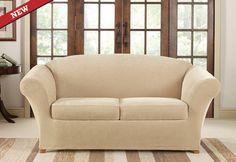 Sure Fit Slipcovers Stretch Piqu� 2 Seat Individual Cushion Loveseat Covers - Loveseat
