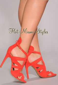 Coral Cut-Out High Heel Sandals