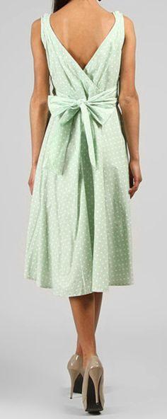 Mint dot midi dress