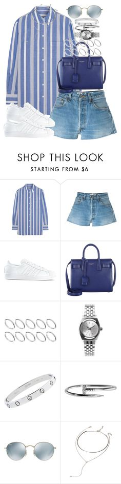 """Sin título #4036"" by hellomissapple on Polyvore featuring moda, Equipment, RE/DONE, adidas, Yves Saint Laurent, ASOS, Nixon, Cartier, Ray-Ban y Forever 21"