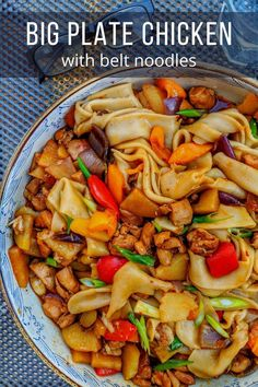 Delicious chicken stew mixed with belt-wide hand-pulled noodles, Big Plate Chicken (Da Pan Ji) is a warming Easy Asian Recipes, Ethnic Recipes, Chinese Recipes, Cooking Chinese Food, Chicken Plating, Asian Chicken, Fusion Food, Food Staples, Yum Yum Chicken