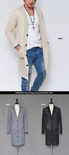 Mens See through Knit Long Button Jacket Cardigan By Guylook.com