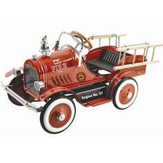 Kids' Pedal Cars - Kalee Deluxe Fire Truck Pedal Car Red *** Details can be found by clicking on the image.