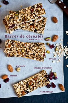 Homemade cereal bar - regime et sport - Raw Food Recipes Raw Food Recipes, Gourmet Recipes, Healthy Recipes, Muesli, Homemade Cereal, Cereal Bars, Granola Bars, Cooking Time, Food Inspiration