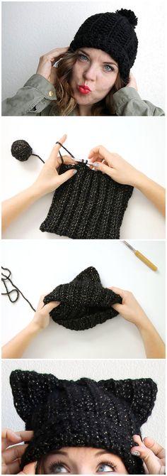 Black Cat Slouch Hat – Free Crochet Cat Hat Pattern