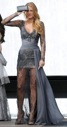 Serena wear Zuhair Murad grey sheer lace gown (fall 2010). ONE OF THE BEST DRESS ON GOSSIP GIRL