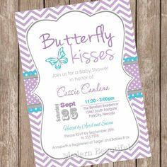 Baby shower purple https://www.etsy.com/listing/207269530/butterfly-kisses-baby-shower-invitation