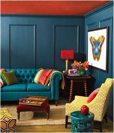 idées déco pour un plafond sympa murs rouges