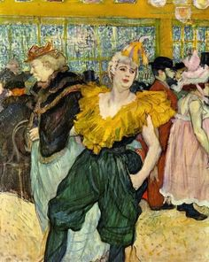"""Henri de Toulouse-Lautrec - At the Moulin Rouge: The Clowness Cha-U-Kao. Cha-U-Kao was the name of a French entertainer who performed at the Moulin Rouge and the Nouveau Cirque in the 1890s. Her stage name was also the name of a boisterous popular dance, similar to the can-can, which came from the French words """"chahut"""", meaning 'noise' and """"chaos"""" (Wikipedia)."""