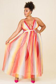 Plus Size Rainbow Maxi Dress Dressy Dresses, Plus Size Maxi Dresses, Plus Size Outfits, Fashion Now, Curvy Fashion, Plus Size Fashion, Pink Clubwear, Curvy Dress, Midi Dress With Sleeves