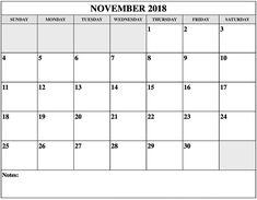 Free Printable Calendar November 2018 Daily Planner