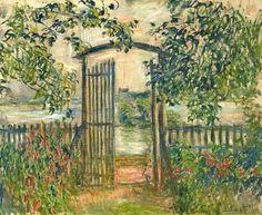 Garden Gate at Vetheuil Claude Monet Art Ceramic Tile Monet Paintings, Impressionist Paintings, Landscape Paintings, Landscapes, Claude Monet, Pierre Auguste Renoir, Edouard Manet, Paul Cezanne, Artist Monet