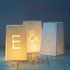 paper bag candles £2.75 from Not on the High Street http://www.notonthehighstreet.com/theletteroom/product/paper-bag-alphabet-lanterns