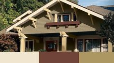 green exterior house color combinations | White Hyacinth, Roycroft Adobe and Peristyle Brass from the Sherwin ...