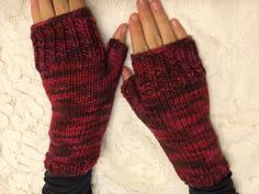 Handknitted Fingerless Gloves Wristwarmers by tonebelle on Etsy