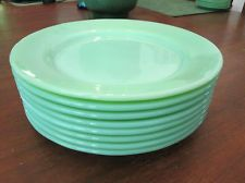 LOT of 8 DINNER PLATES! Vintage FIRE KING: JADE-ITE: restaurant ware: EXCELLENT