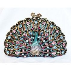 Judith Leiber Peacock Swarovski Crystal Evening Party Clutch