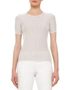 Short-Sleeve Skinny-Striped T-Shirt, Cream/Cord (Ivory/Cord) - Akris punto
