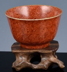 IMPORTANT 18c CHINESE IMPERIAL YONGZHENG MARK PERIOD FAUX-BOIS EGGSHELL WINE CUP Eggshell, Serving Bowls, Decorative Bowls, Period, Porcelain, Chinese, Pottery, Wine, Antiques