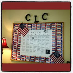 July's board - the back ground is wrapping paper - drums - but it looks 'Americana' with the flags. Inexpensive but eye catching.