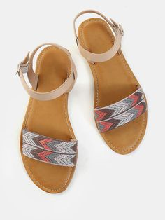 89939bdcf Shop Pastel Duo Strap Open Toe Sandals С MULTI online. SheIn offers Pastel  Duo Strap