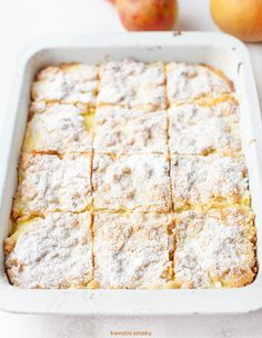Szarlotka z budyniem Apple Cake Recipes, Dessert Recipes, Desserts, Easy Blueberry Muffins, Polish Recipes, Pavlova, Cake Cookies, No Bake Cake, Food To Make