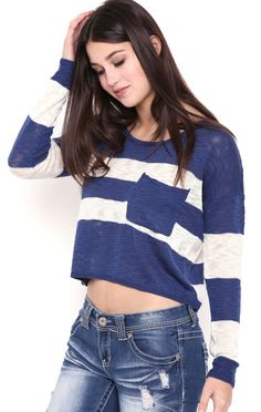 Deb Shops Long Sleeve Striped Cropped Knit Sweater with Pocket $15.90