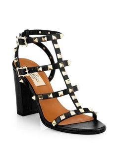 Valentino - Rockstud Leather T-Strap Block-Heel Sandals