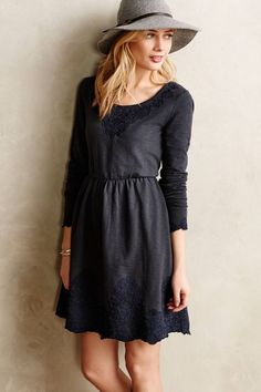 Anthropologie Ellie Dress Sz S, Gray Slubby Cotton Embroidered, Saturday Sunday #SaturdaySunday #FitFlare #Casual