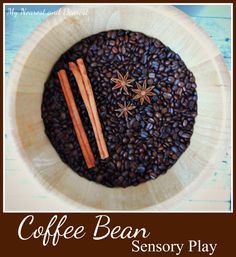 This coffee bean sensory play activity is a real feast for the senses. Sensory Activities Toddlers, Indoor Activities For Kids, Sensory Play, Toddler Preschool, Preschool Crafts, Sensory Boxes, Sensory Table, Kids Outdoor Table, Sensory Therapy
