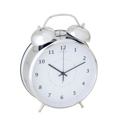 This silver alarm clock with white background recalls the old style alarm clocks with its ringing bells. The Wake up clock is modern for its design and lighting. Can also be hung on the wall!
